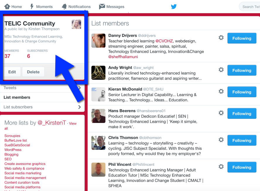 Twitter lists example: TELIC Community