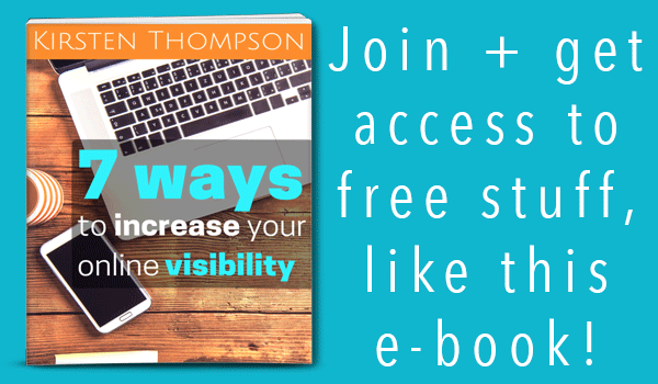 Join + get access to free stuff,  like this e-book!  7 way to increase your online visibility