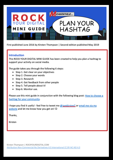 Screenshot of the Plan your hashtag guide.