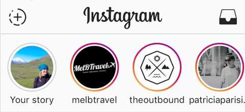 Screenshot displaying how to access Instagram Stories