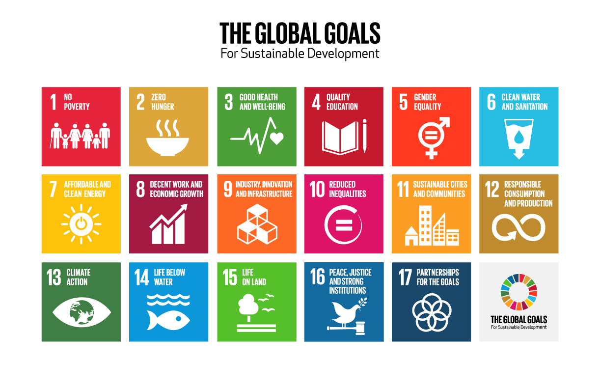 Graphic about The Global Goals for Sustainable Development (there are 17): 1. No poverty 2. Zero hunger 3. Good health 4. Quality education 5. Gender equality 6. Clear water and sanitation 7. Affordable ad clean energy 8. Decent work and economic growth 9. Industry, innovation and infrastructure 10. Reduced inequalities 11. Sustainable cities and communities 12. Responsible consumption and production 13. Climate action 14. Life below water 15. Life on land 16. Peace, justice and strong institutions 17. Partnerships for the goals.