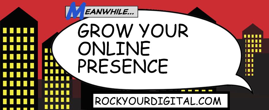 Speech bubble with the post title: Grow your online presence.