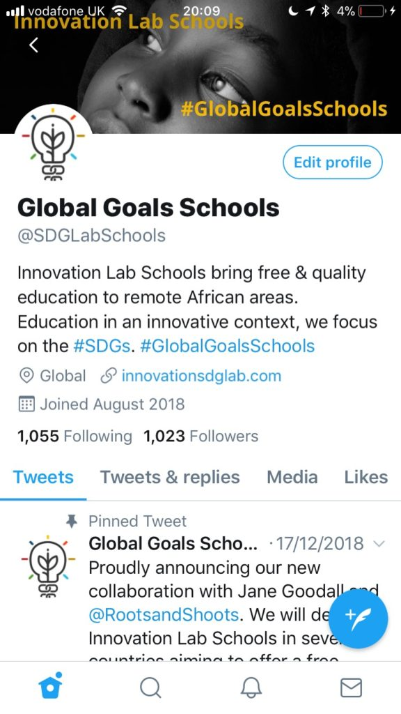 Screenshot of the @SDGLabSchools Twitter profile. Bio includes the following text: Innovation Lab Schools bring free & quality education to remote African areas. Education in an innovative context, we focus on the #SDGs. #GlobalGoalsSchools