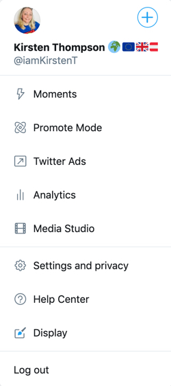 Screenshot of the pop-up More Menu item which includes: Moments, Promote Mode, Twitter Ads, Analytics, Media Studio, Setting and privacy, Help Center, Display and Log out.
