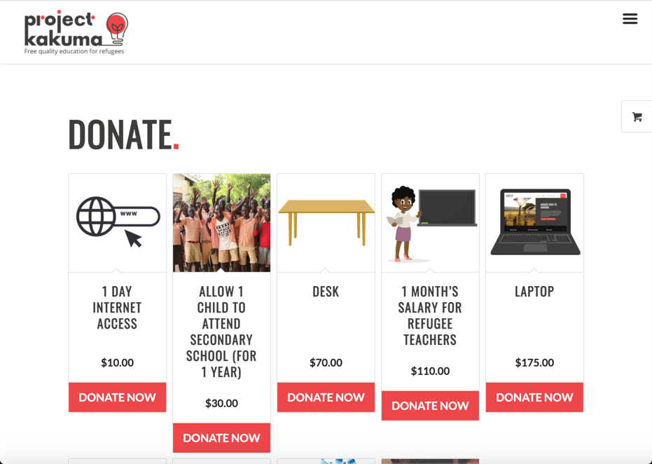 Project Kakuma Fundraising website