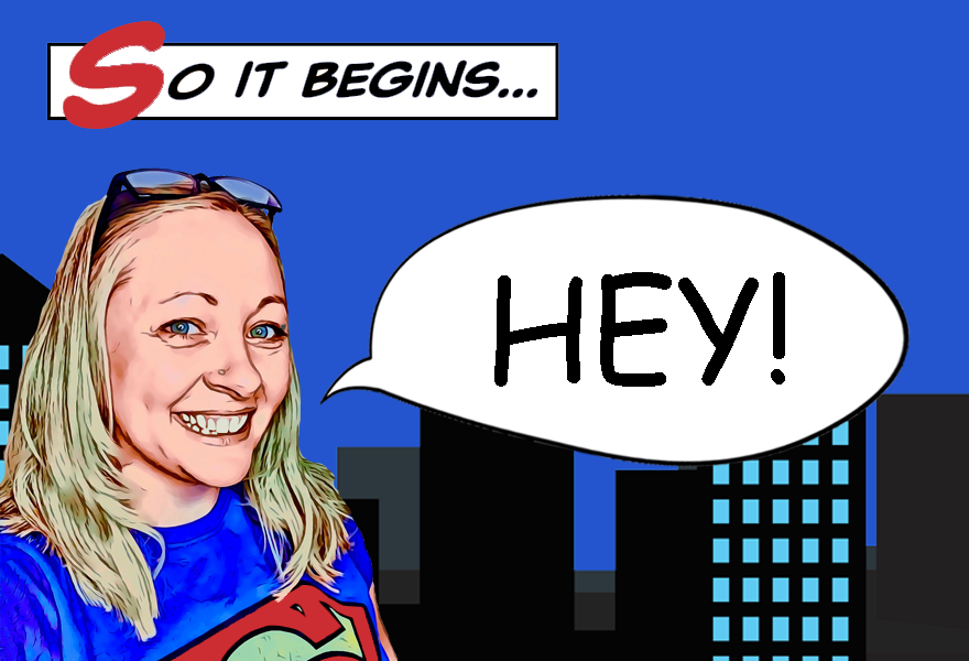 Comic-style city scene with cartoon version of Kirsten in a Superman t-shirt saying, 'HEY!