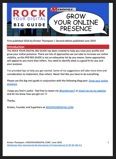 Screenshot of the ROCK YOUR DIGITAL BIG GUIDE: GROW YOUR ONLINE PRESENCE