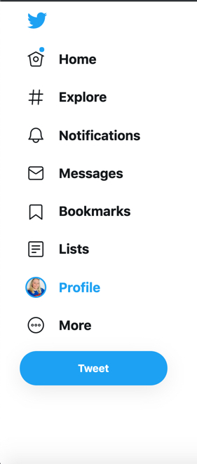 Screenshot of the Twitter main menu which contains the following links: Home, Explore, Notifications, Messages, Bookmarks, Lists, Profile and More.