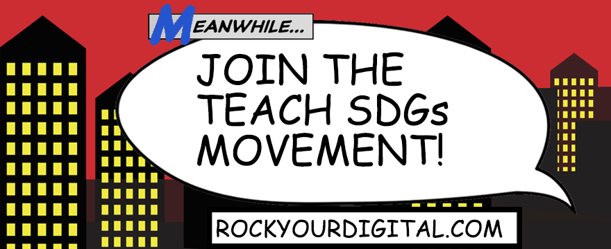 "Text in a speech bubble comic book-styled graphic: ""Join the Teach SDGs Movement!"