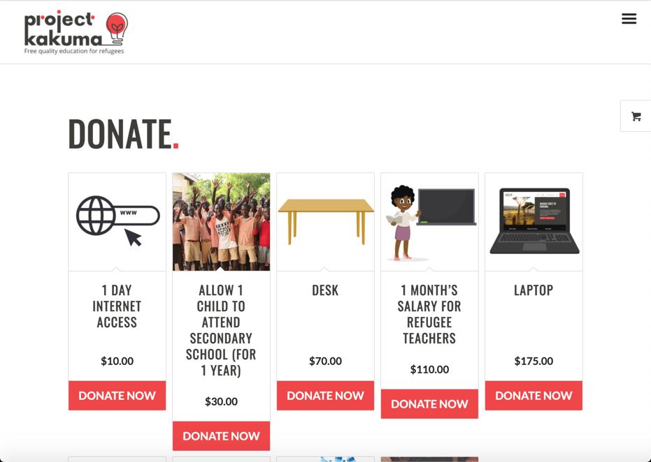 Project Kakuma Fundraising website
